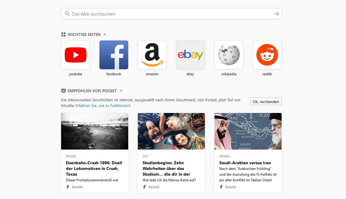 Firefox Quantum new tab